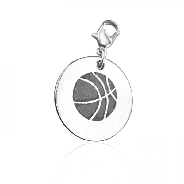 Solid White Gold Basketball Charm
