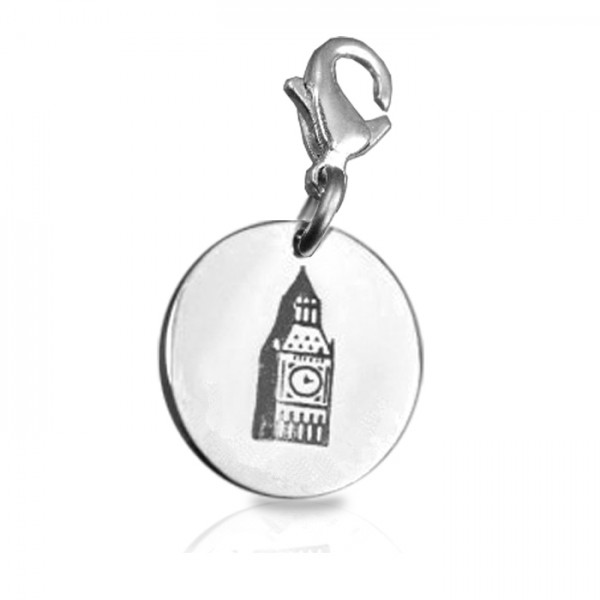 Solid White Gold Big Ben Tower Clock Charm