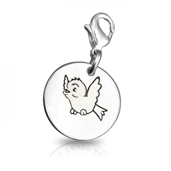 Solid White Gold Bird Charm