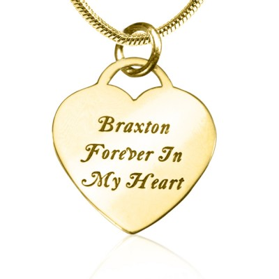 Personalised Forever in My Heart Necklace - 18CT Gold