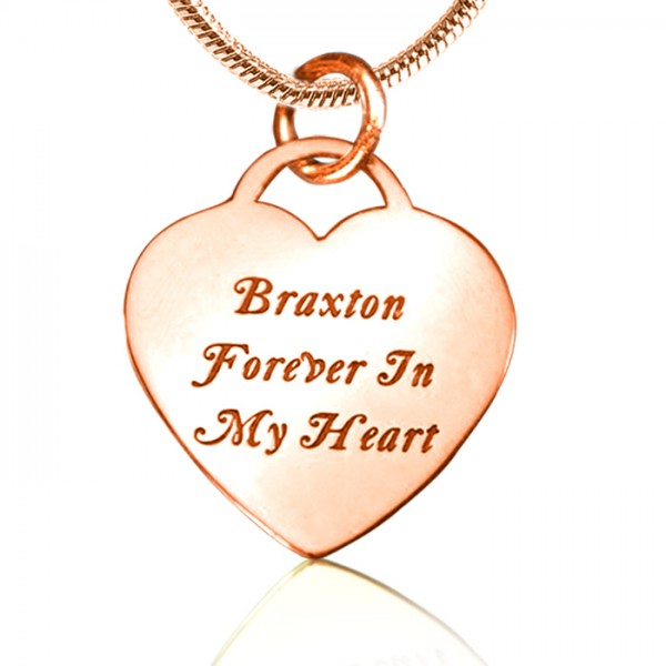 Personalised Forever in My Heart Necklace - 18CT Rose Gold