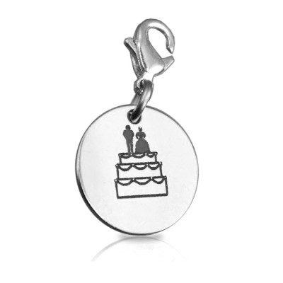 Solid White Gold Bride n Groom Charm