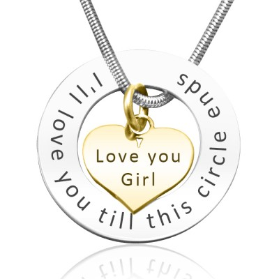 Personalised Circle My Heart Necklace - Two Tone HEART - Solid Gold