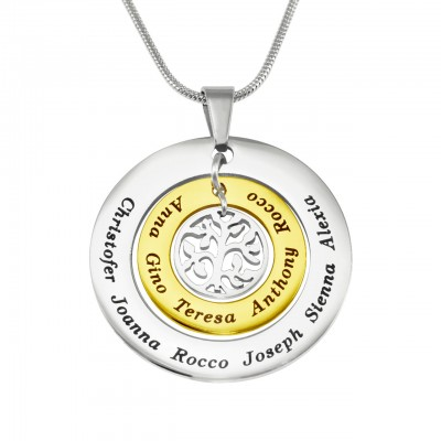Solid Gold Circles of Love Name Necklace Tree - TWO TONE