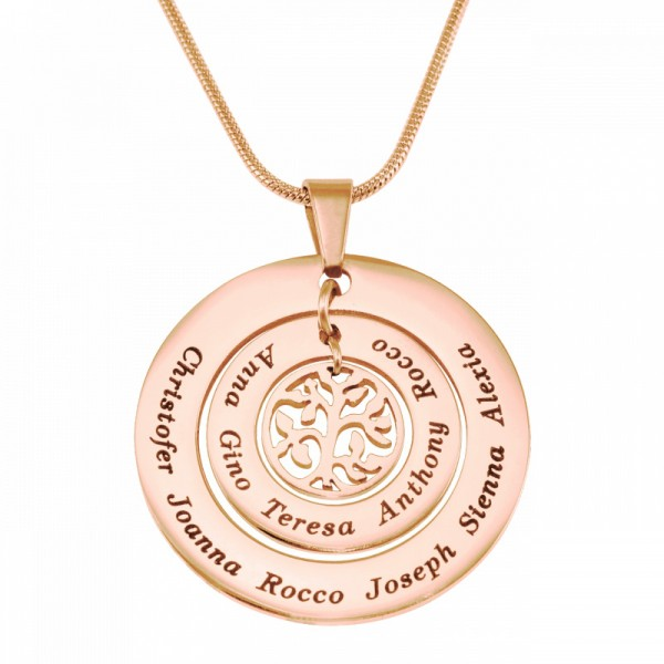 Personalised Circles of Love Necklace Tree - 18CT Rose Gold