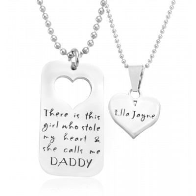 Solid Gold Dog Tag - Stolen Heart - Two Name Necklace s