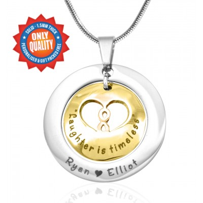 Solid Gold Infinity Dome Name Necklace - Two Tone