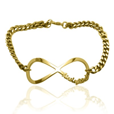 Personalised Infinity Name Bracelet/Anklet - 18CT Gold
