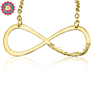 Personalised Classic Infinity Name Necklace - 18CT Gold