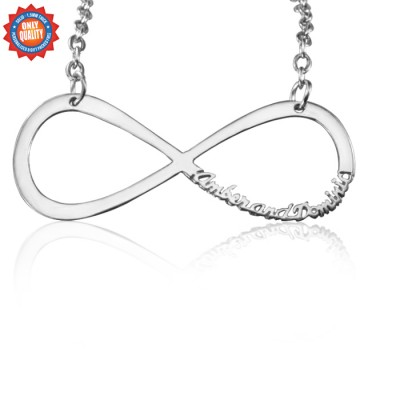Solid White Gold Classic Infinity Name Necklace -