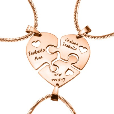 Solid Gold Triple Heart Puzzle - Three Necklaces