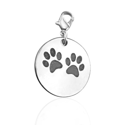 Solid Gold Paw Prints Charm