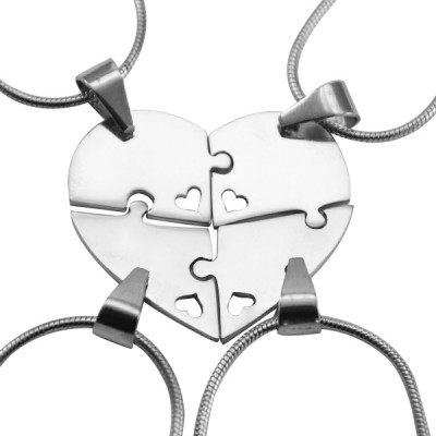 Solid Gold Quad Heart Puzzle - Four Necklaces