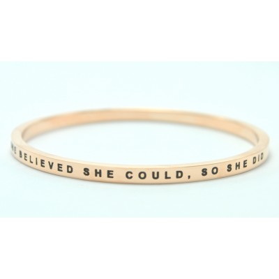 Personalised She Believed She Could Bangle - 18CT Gold