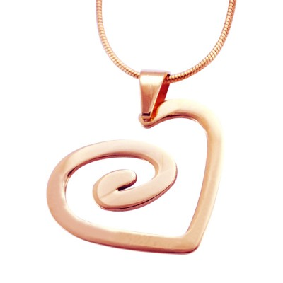 Personalised Swirls of My Heart Necklace - 18CT Rose Gold