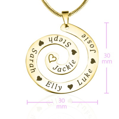 Personalised Swirls of Time Necklace - 18CT Gold