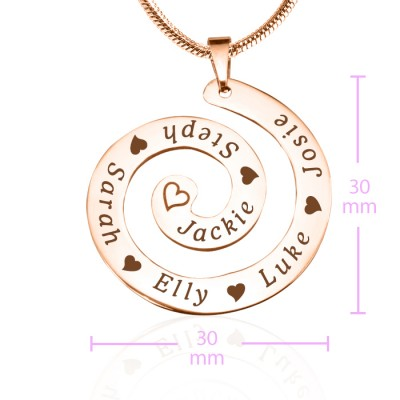 Personalised Swirls of Time Necklace - 18CT Rose Gold