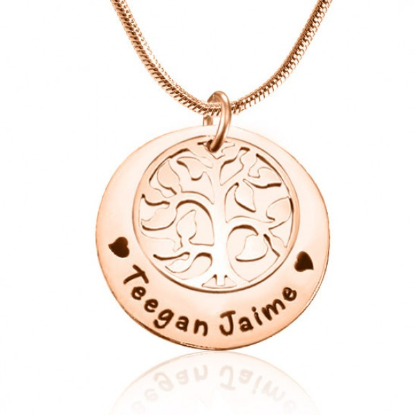 Personalised My Family Tree Single Disc - 18CT Rose Gold