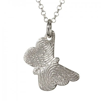 18CT White Gold FingerPrint Butterfly Pendant
