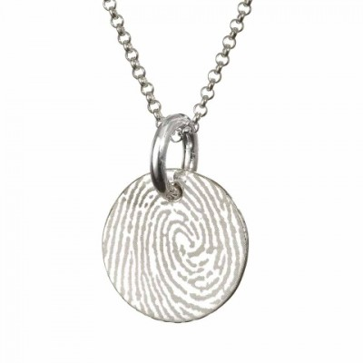Solid Gold Pattened FingerPrint Circle Pendant