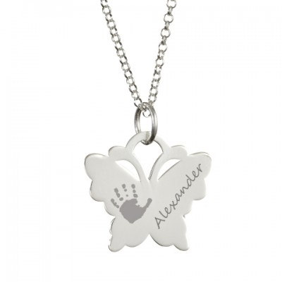 Solid White Gold Engraved Butterfly Handprint Necklace