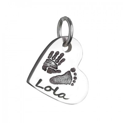 18CT White Gold Hand / Footprint Heart Charm Necklace