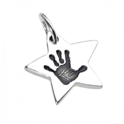 18CT White Gold Hand / Footprint Star Pendant