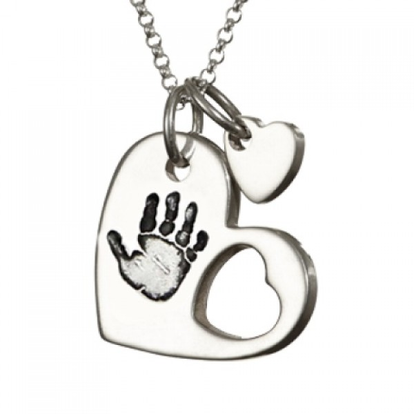 18CT White Gold Cut Out Heart Handprint Necklace