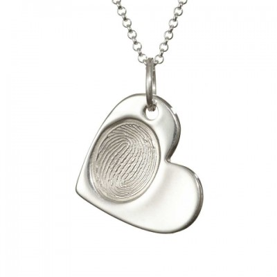 18CT White Gold FingerPrint Cascade Heart Pendant