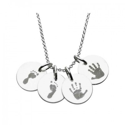 18CT White Gold Hand/Footprint Engraved Disc Pendant