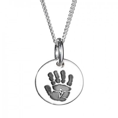 18CT White Gold Hand / Footprint Medium Circle Pendant