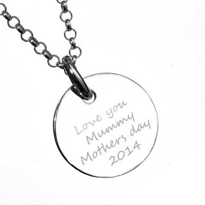 Solid Gold Large Engraved Handprint Necklace For Children