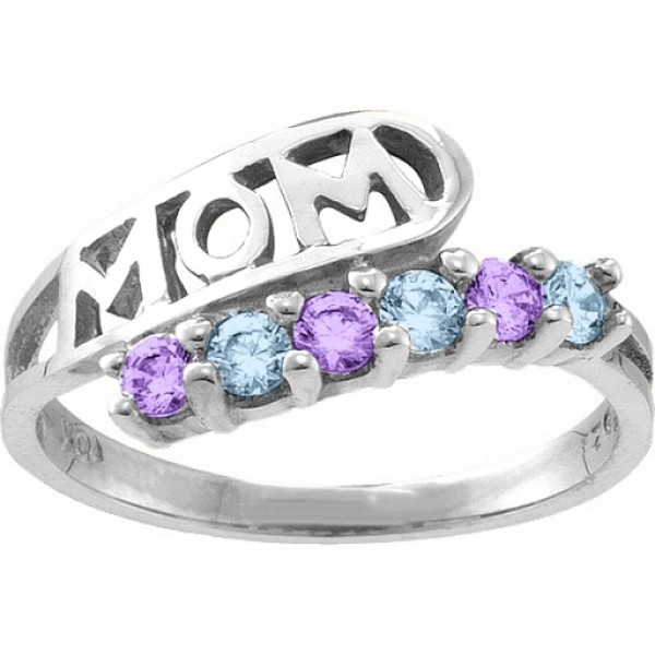 Cherish MOM Cut-out 2-6 Stones Solid White Gold Ring