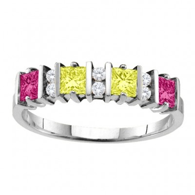 Echo 2-6 Princess Cut Stones Solid White Gold Ring With Accents