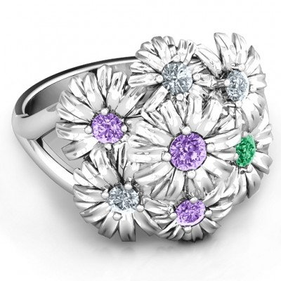In Full Bloom Solid White Gold Ring