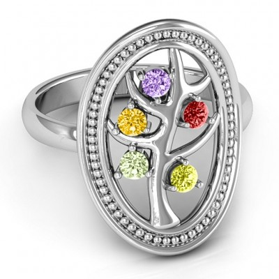Organic Tree of Life Solid White Gold Ring