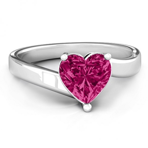 Passion Large Heart Solitaire Solid White Gold Ring