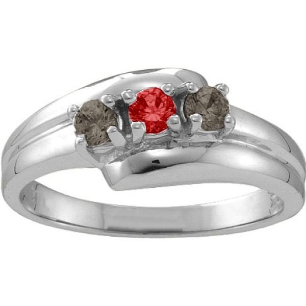 Reverie Angled 2-6 Stones Solid White Gold Ring
