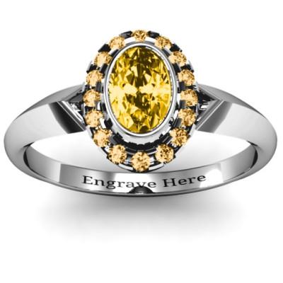 Royal Bezel Set Oval Cluster Solid White Gold Ring