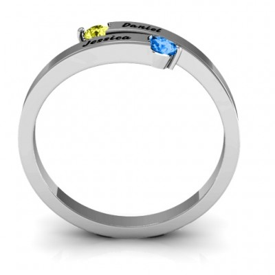 Soleil Tipped Bypass Solid White Gold Ring