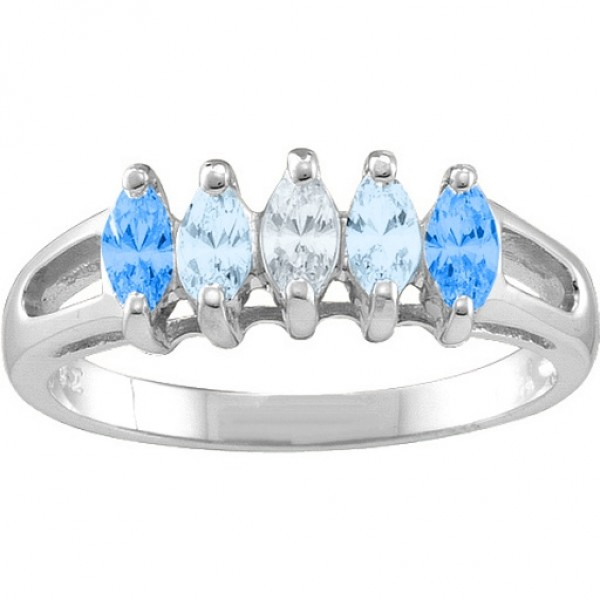 Tempest 2-7 Marquise Solid White Gold Ring