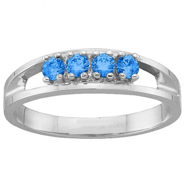 1-6 Gemstone Solid White Gold Ring