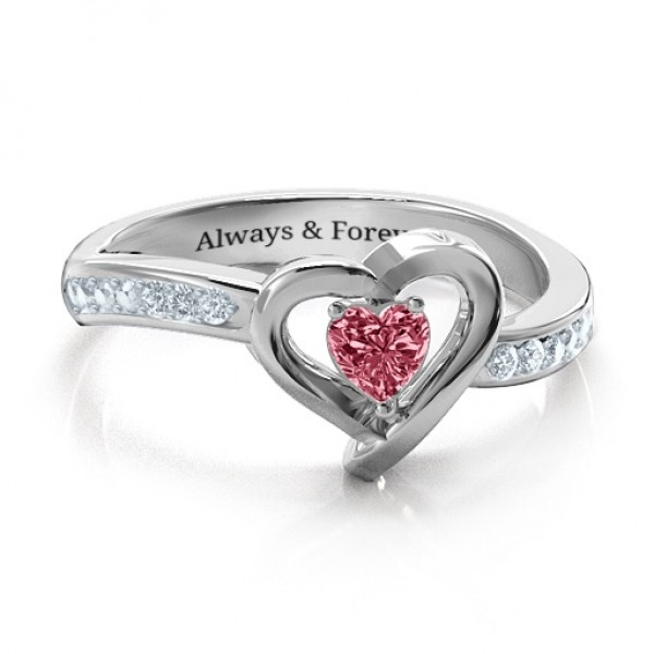 18CT White Gold Falling For You Accented Heart Ring