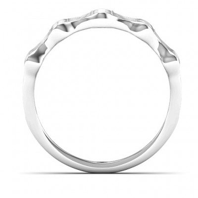 15 Stone Family Wave Solid White Gold Ring