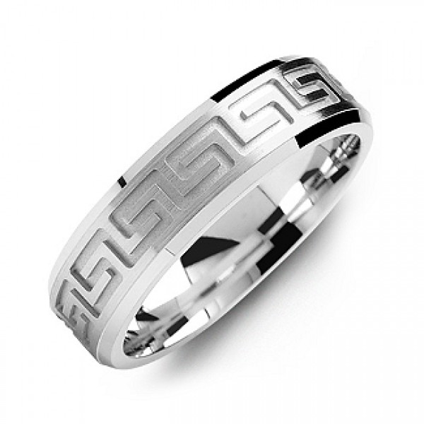 Greek Key Eternity Grooved Men's Solid White Gold Ring