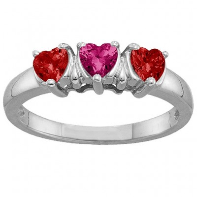 2-5 Hearts Solid White Gold Ring