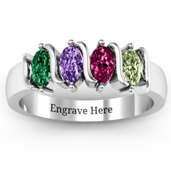 2-5 Oval Stones Solid White Gold Ring