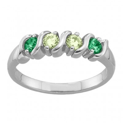 2-6 Gemstones S-Curve Solid White Gold Ring