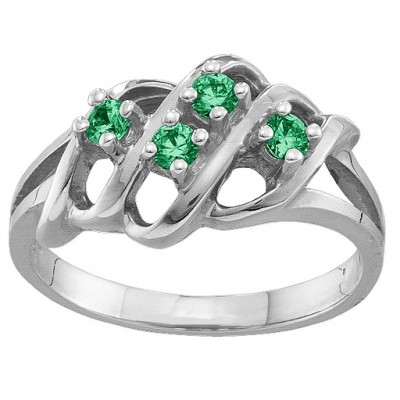 2-7 Accents Solid White Gold Ring