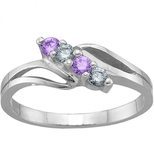 2-7 Stones Branch Solid White Gold Ring